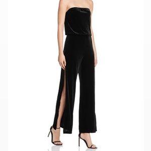 AQUA Black Velvet Strapless WideLeg Slit Jumpsuit